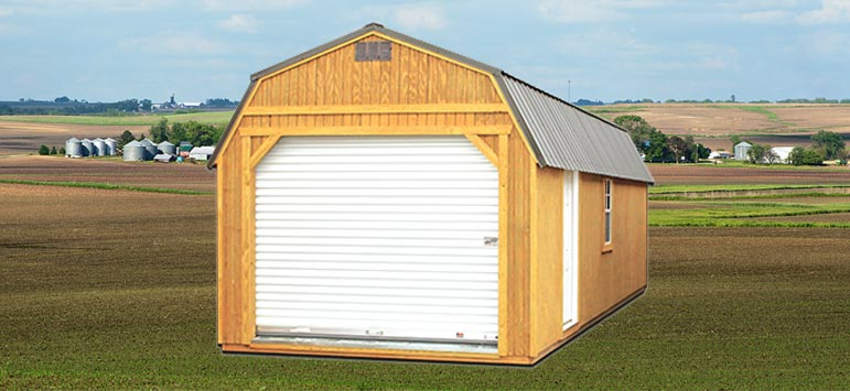 Pre built garage lofted garages backyard outfitters for Lofted garage